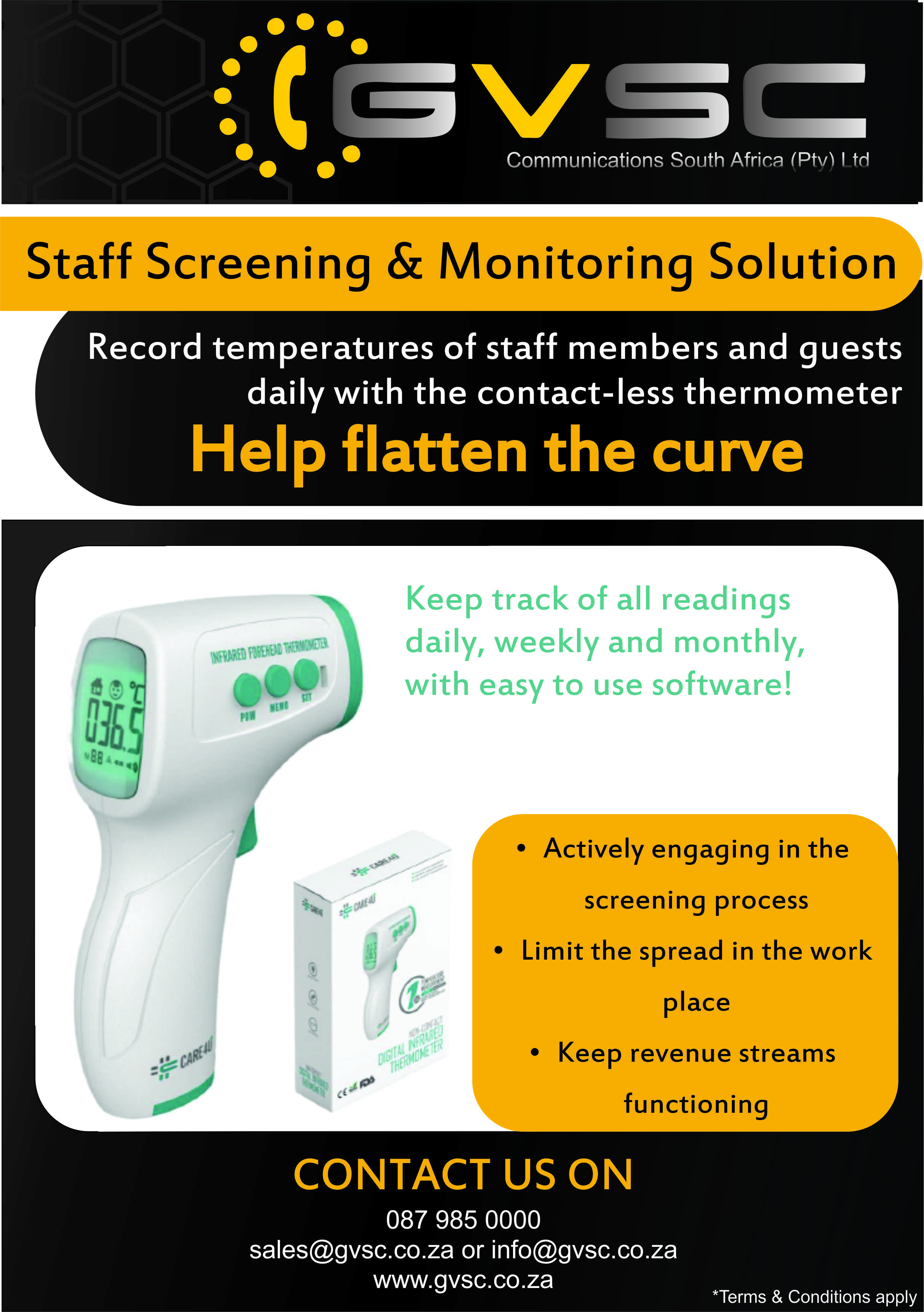 GVSC Staff Screening Solution with Handheld Thermometer